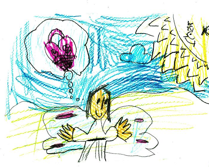 детский рисунок ангел думает о розовой сумке рождество